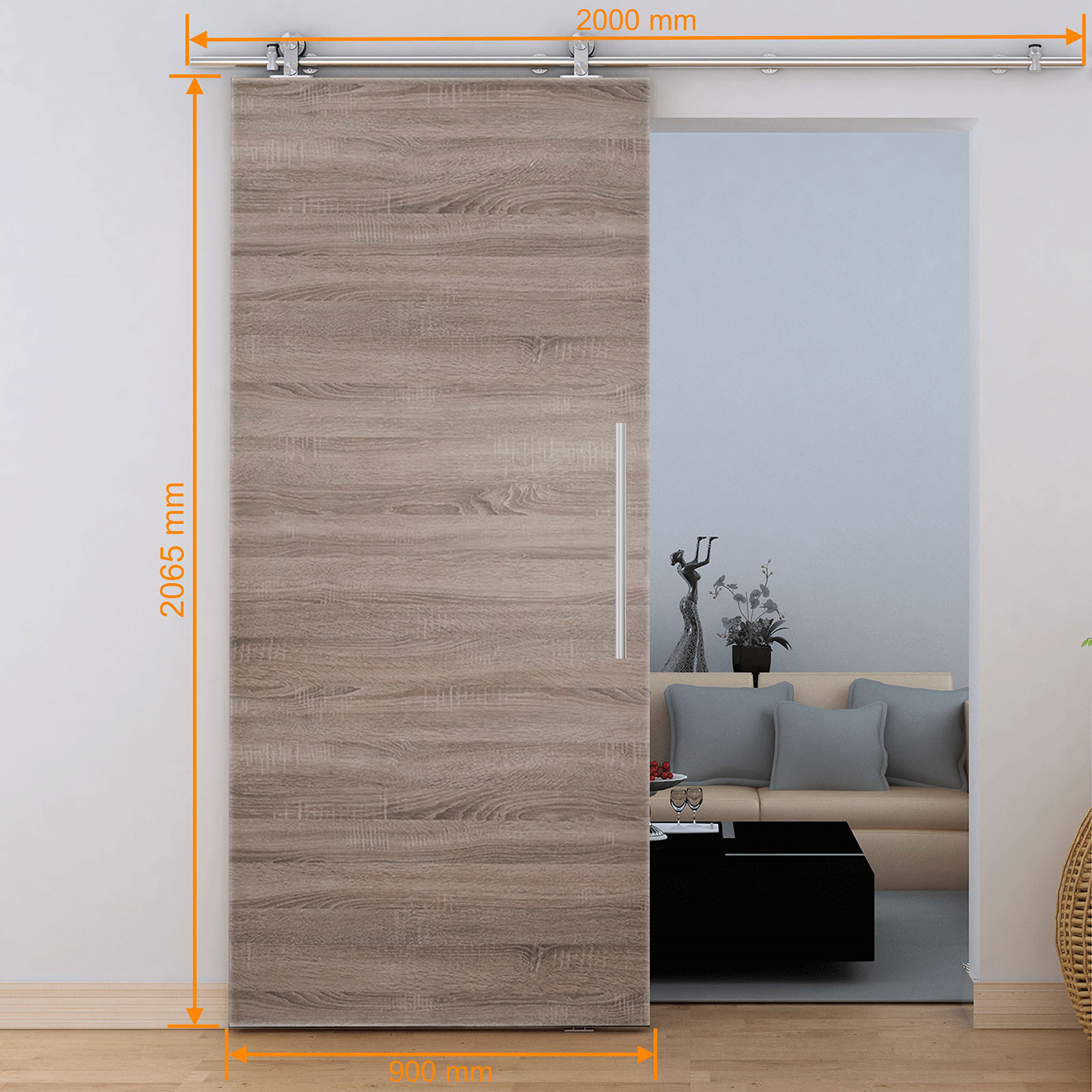 schiebet r holzschiebet r 900x2065 softstop schiebet rsystem zimmert r holz t r ebay. Black Bedroom Furniture Sets. Home Design Ideas